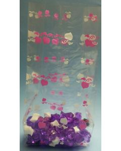 Bags - Candy Bags - 4''W x 2 ½''G x 10 ¼''H - Designs - Apples of my heart pink white