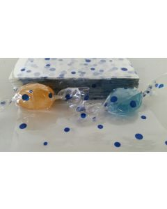 """Caramel Candy Wrappers Sheets - 4"""" x 4""""- Dots Blue"""