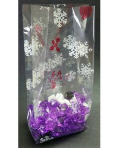 Bags - Candy Bags - 4''W x 2 ½''G x 10 ¼''H - Designs - Flakes and Canes Red White