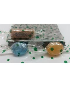"""Caramel Candy Wrappers Sheets - 7"""" x 7""""- Dots Green"""