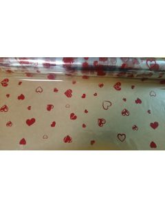 Rolls - 40'' x 100' - Designs - Small hearts Red
