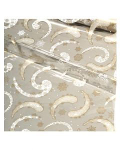 Sheets - 18'' x 30''- Designs- Snow Flakes Gold/White