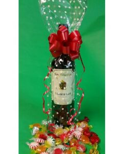 Bags - Wine Bottle Bags - 6''W x 18''H - Printed on Clear - White Dots