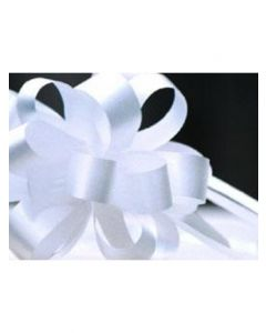 4'' Poly Embossed PullBow - White