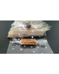 """Caramel Candy Wrappers Sheets - 4"""" x 5""""- Dots White"""